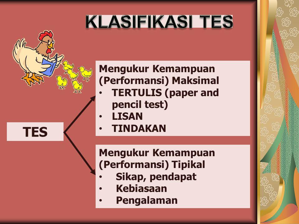 TES Mengukur Kemampuan (Performansi) Maksimal TERTULIS (paper and pencil test) LISAN TINDAKAN Mengukur Kemampuan (Performansi) Tipikal Sikap, pendapat
