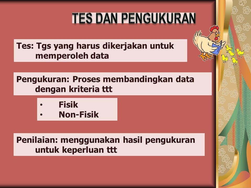 Tes: Tgs yang harus dikerjakan untuk memperoleh data Pengukuran: Proses membandingkan data dengan kriteria ttt Penilaian: menggunakan hasil pengukuran