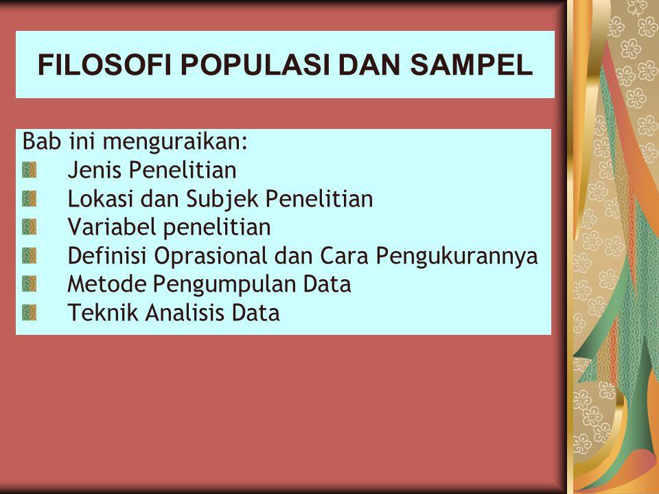 FILOSOFI POPULASI DAN SAMPEL Bab ini menguraikan: Jenis Penelitian Lokasi dan Subjek Penelitian Variabel penelitian Definisi Oprasional dan Cara Pengu
