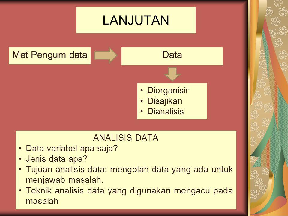 LANJUTAN Met Pengum dataData Diorganisir Disajikan Dianalisis ANALISIS DATA Data variabel apa saja? Jenis data apa? Tujuan analisis data: mengolah dat