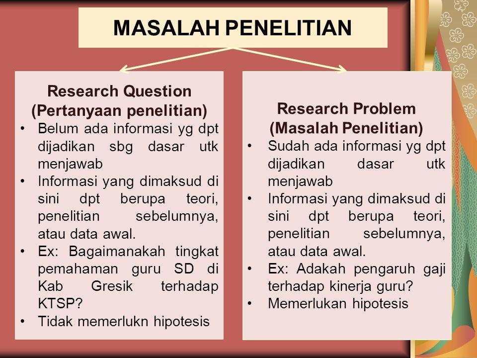 MASALAH PENELITIAN Research Question (Pertanyaan penelitian) Belum ada informasi yg dpt dijadikan sbg dasar utk menjawab Informasi yang dimaksud di si