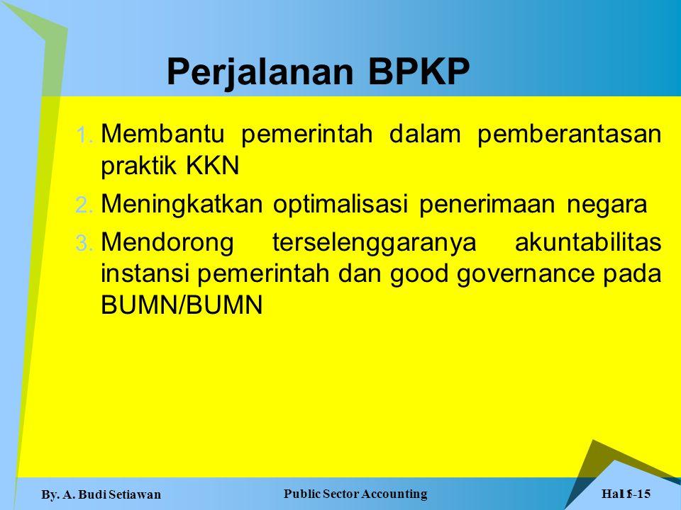 Hal 1-15 Public Sector Accounting By. A. Budi Setiawan 15 Perjalanan BPKP 1. Membantu pemerintah dalam pemberantasan praktik KKN 2. Meningkatkan optim