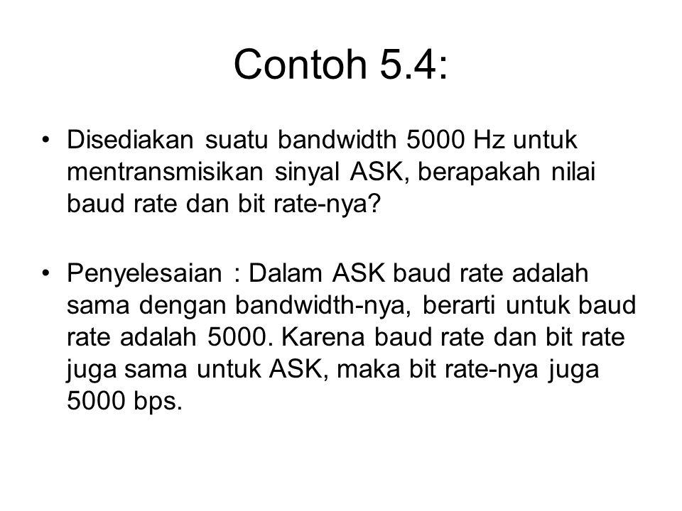 Contoh 5.4: Disediakan suatu bandwidth 5000 Hz untuk mentransmisikan sinyal ASK, berapakah nilai baud rate dan bit rate-nya? Penyelesaian : Dalam ASK