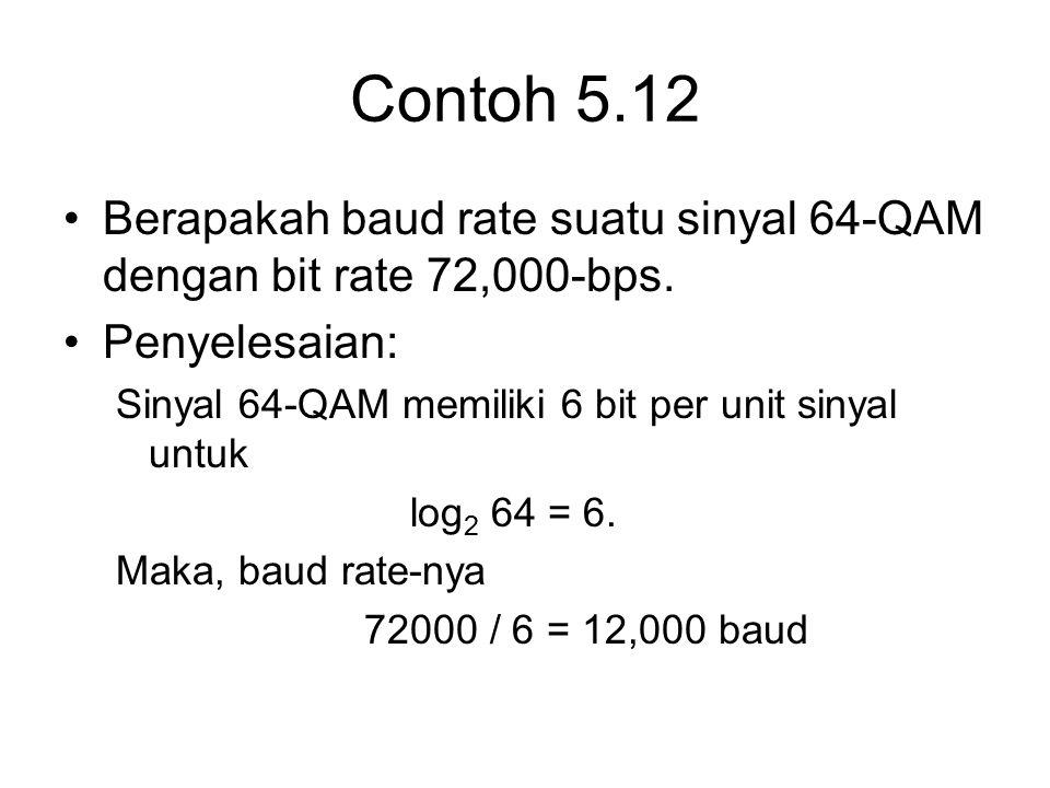 Contoh 5.12 Berapakah baud rate suatu sinyal 64-QAM dengan bit rate 72,000-bps. Penyelesaian: Sinyal 64-QAM memiliki 6 bit per unit sinyal untuk log 2
