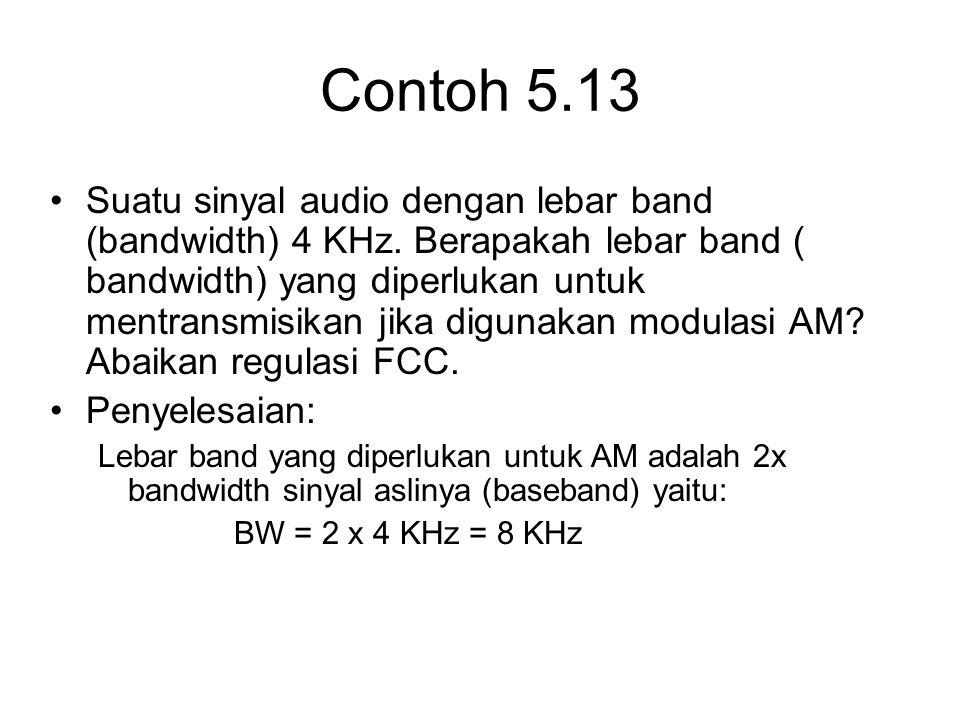 Contoh 5.13 Suatu sinyal audio dengan lebar band (bandwidth) 4 KHz. Berapakah lebar band ( bandwidth) yang diperlukan untuk mentransmisikan jika digun