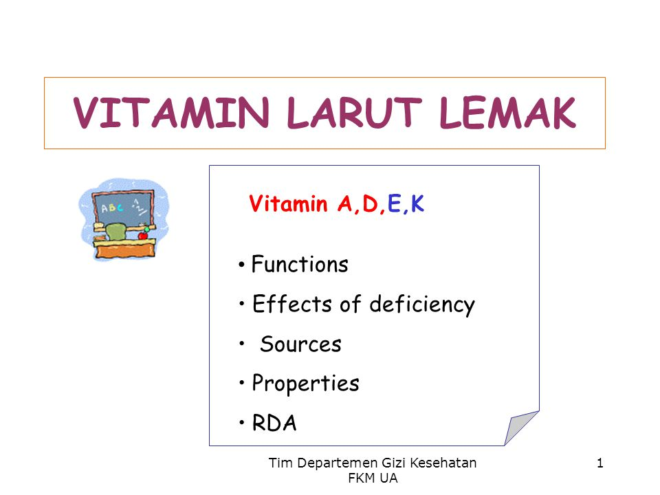 Tim Departemen Gizi Kesehatan FKM UA 1 VITAMIN LARUT LEMAK Vitamin A,D,E,K Functions Effects of deficiency Sources Properties RDA