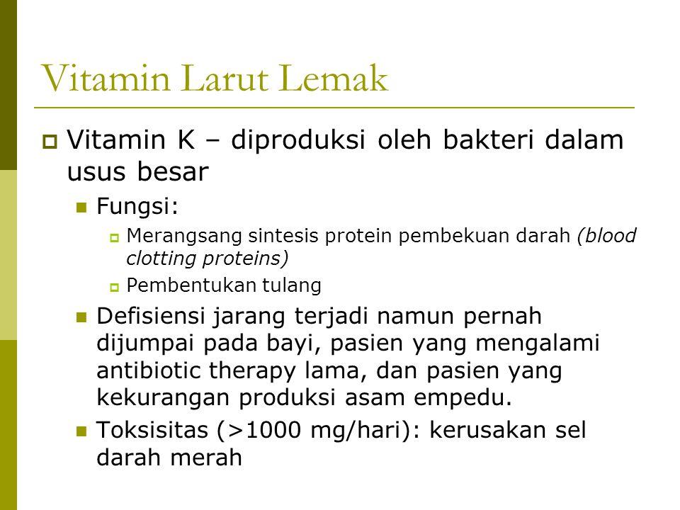 Vitamin Larut Lemak  Vitamin K – diproduksi oleh bakteri dalam usus besar Fungsi:  Merangsang sintesis protein pembekuan darah (blood clotting prote