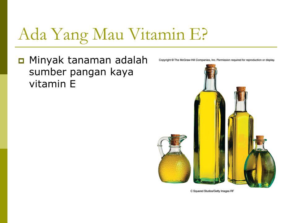 Ada Yang Mau Vitamin E?  Minyak tanaman adalah sumber pangan kaya vitamin E