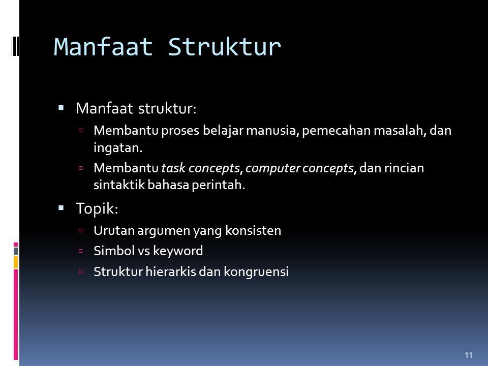 11 Manfaat Struktur  Manfaat struktur:  Membantu proses belajar manusia, pemecahan masalah, dan ingatan.  Membantu task concepts, computer concepts