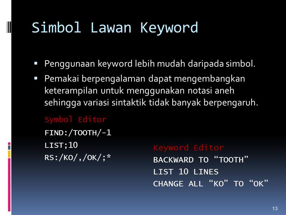 13 Simbol Lawan Keyword  Penggunaan keyword lebih mudah daripada simbol.  Pemakai berpengalaman dapat mengembangkan keterampilan untuk menggunakan n