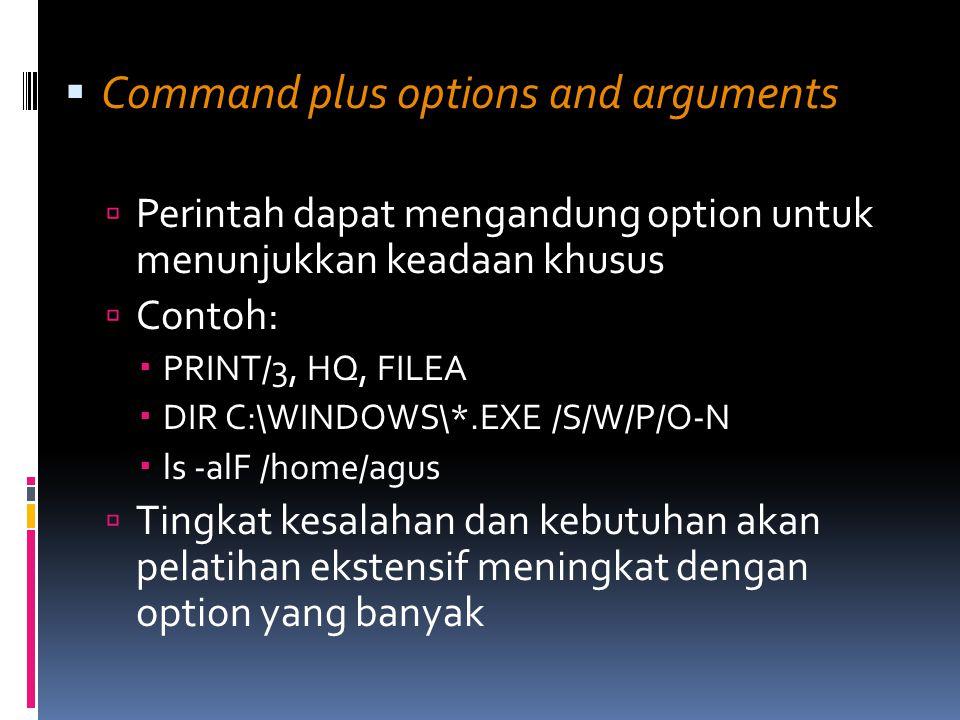  Command plus options and arguments  Perintah dapat mengandung option untuk menunjukkan keadaan khusus  Contoh:  PRINT/3, HQ, FILEA  DIR C:\WINDO