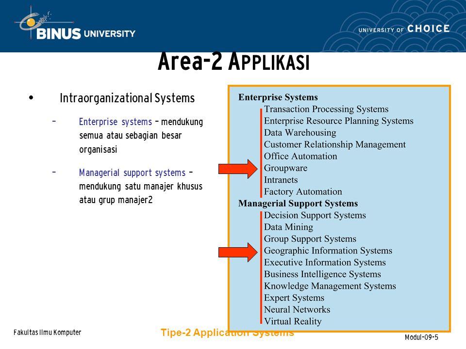 Fakultas Ilmu Komputer Modul-09-16 Bagaimana mereka dibedakan :  Modul-2 dalam ERP adalah teintegrasi  Modul-2 ERP merefleksikan cara tertentu dalam menjalankan bisnis S ISTEM-2 E NTERPRISE R ESOURCE P LANNING