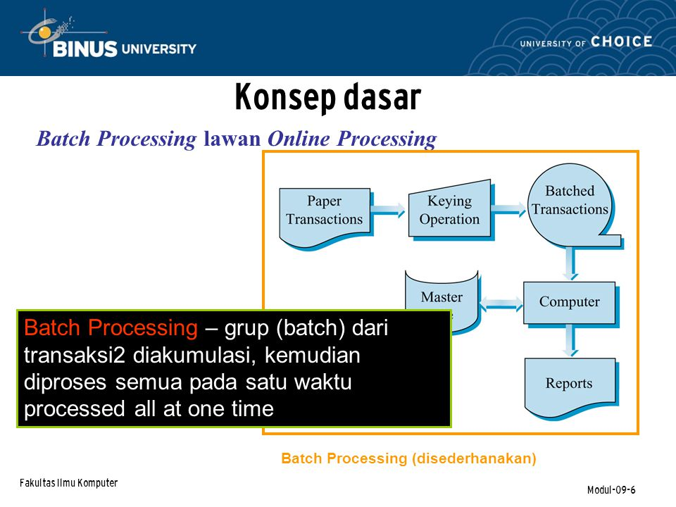 Fakultas Ilmu Komputer Modul-09-6 Konsep dasar Batch Processing lawan Online Processing Batch Processing – grup (batch) dari transaksi2 diakumulasi, kemudian diproses semua pada satu waktu processed all at one time Batch Processing (disederhanakan)