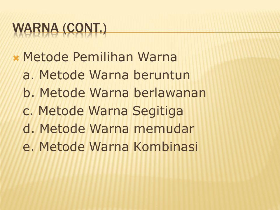  Metode Pemilihan Warna a. Metode Warna beruntun b. Metode Warna berlawanan c. Metode Warna Segitiga d. Metode Warna memudar e. Metode Warna Kombinas
