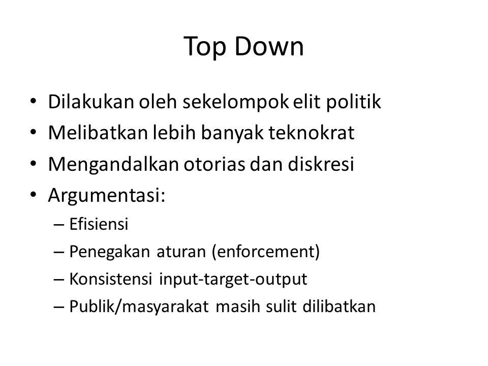 Top Down Dilakukan oleh sekelompok elit politik Melibatkan lebih banyak teknokrat Mengandalkan otorias dan diskresi Argumentasi: – Efisiensi – Penegak