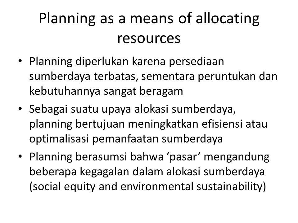 Planning as a means of allocating resources Karena planning merupakan usaha alokasi sumberdaya secara efisien, maka komponen penting planning adalah pengumpulan data dan informasi tentang sumberdaya yang ada Dan karena planning adalah upaya alokasi sumberdaya yang efisien, prinsip-prinsip keberlanjutan sumberdaya merupakan bagian penting dari planning