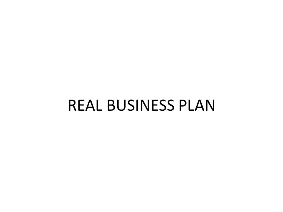 REAL BUSINESS PLAN