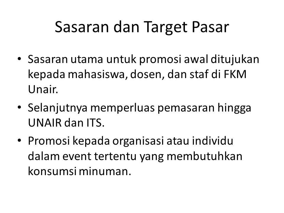 Sasaran dan Target Pasar Sasaran utama untuk promosi awal ditujukan kepada mahasiswa, dosen, dan staf di FKM Unair.