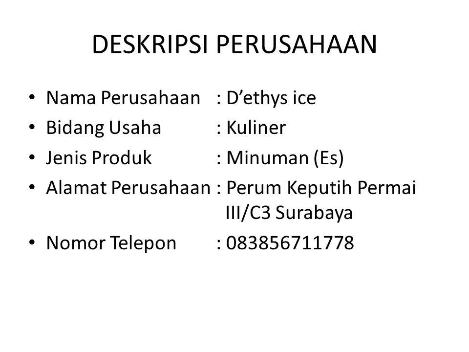 DESKRIPSI PERUSAHAAN Nama Perusahaan: D'ethys ice Bidang Usaha: Kuliner Jenis Produk: Minuman (Es) Alamat Perusahaan: Perum Keputih Permai III/C3 Surabaya Nomor Telepon: 083856711778