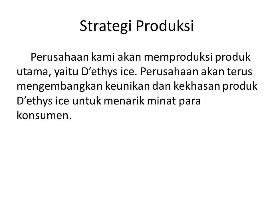 Strategi Produksi Perusahaan kami akan memproduksi produk utama, yaitu D'ethys ice.