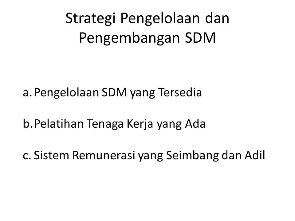 Strategi Pengelolaan dan Pengembangan SDM a.Pengelolaan SDM yang Tersedia b.Pelatihan Tenaga Kerja yang Ada c.Sistem Remunerasi yang Seimbang dan Adil