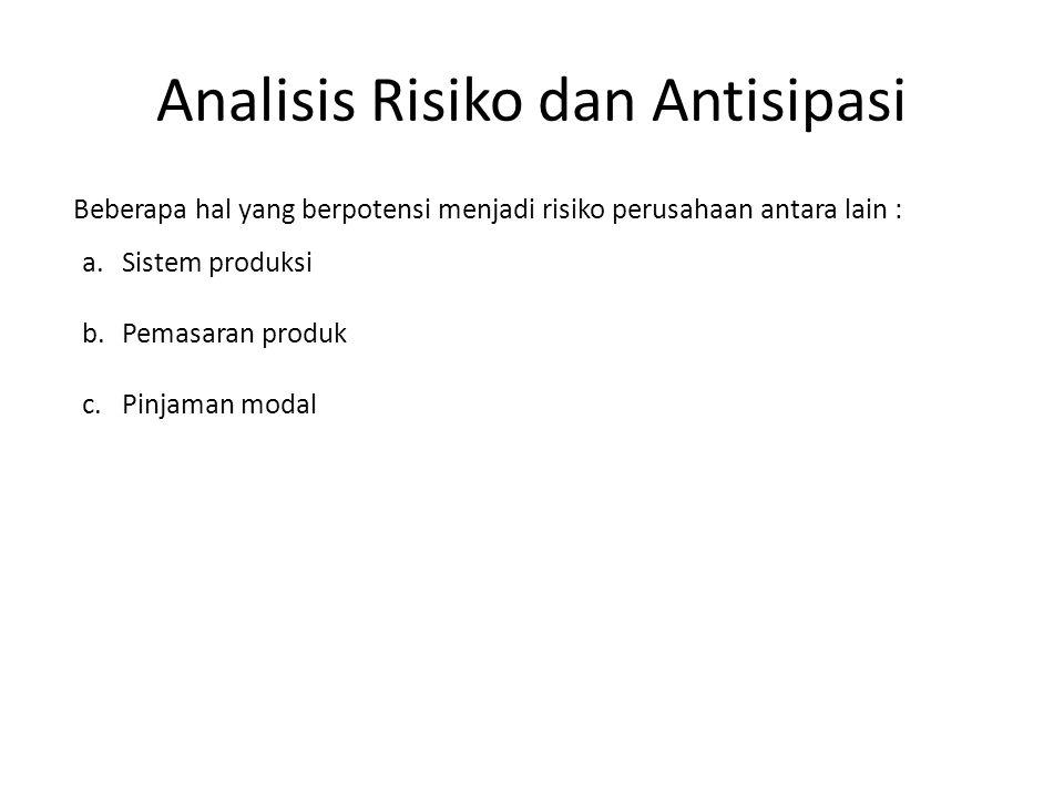 Analisis Risiko dan Antisipasi Beberapa hal yang berpotensi menjadi risiko perusahaan antara lain : a.Sistem produksi b.Pemasaran produk c.Pinjaman modal