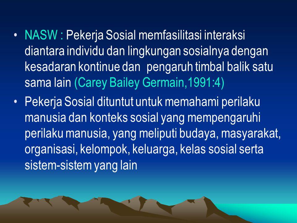 NASW : Pekerja Sosial memfasilitasi interaksi diantara individu dan lingkungan sosialnya dengan kesadaran kontinue dan pengaruh timbal balik satu sama