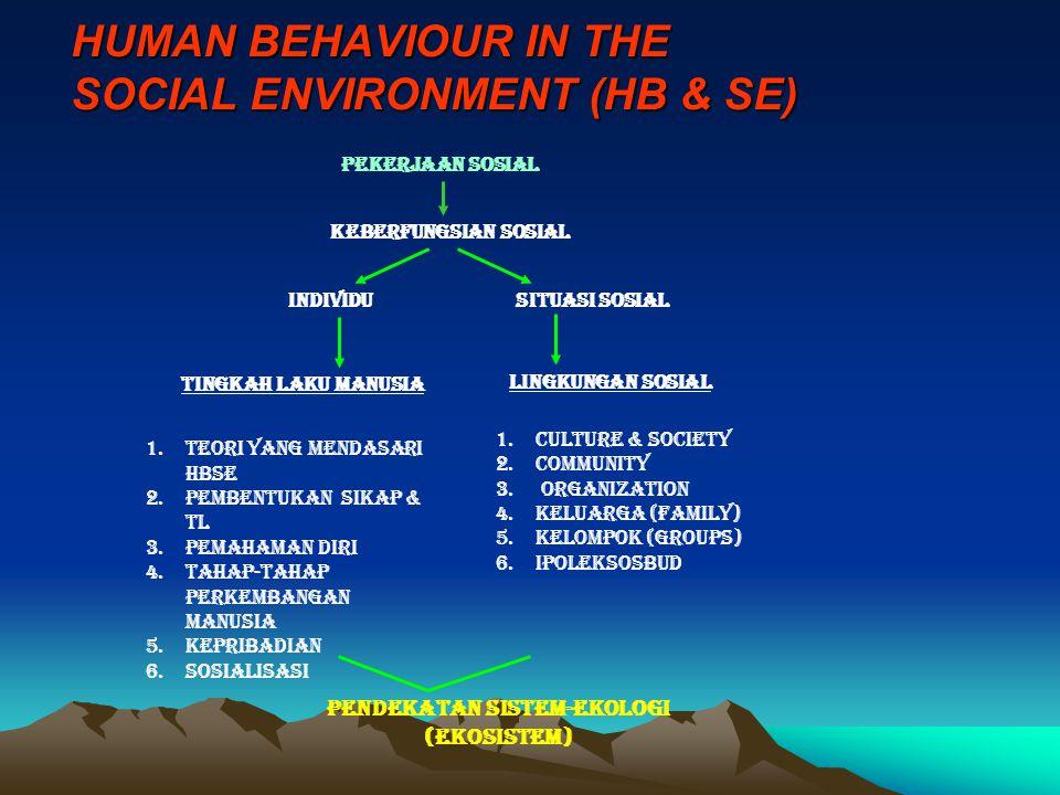 HUMAN BEHAVIOUR IN THE SOCIAL ENVIRONMENT (HB & SE) PEKERJAAN SOSIAL KEBERFUNGSIAN SOSIAL INDIVIDUSITUASI SOSIAL TINGKAH LAKU MANUSIA LINGKUNGAN SOSIA