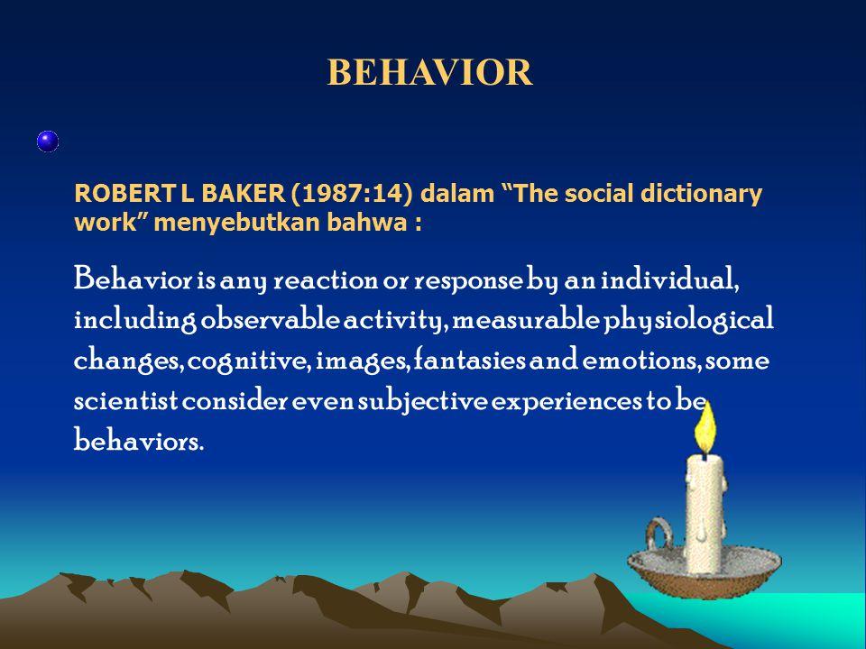 "BEHAVIOR ROBERT L BAKER (1987:14) dalam ""The social dictionary work"" menyebutkan bahwa : Behavior is any reaction or response by an individual, includ"