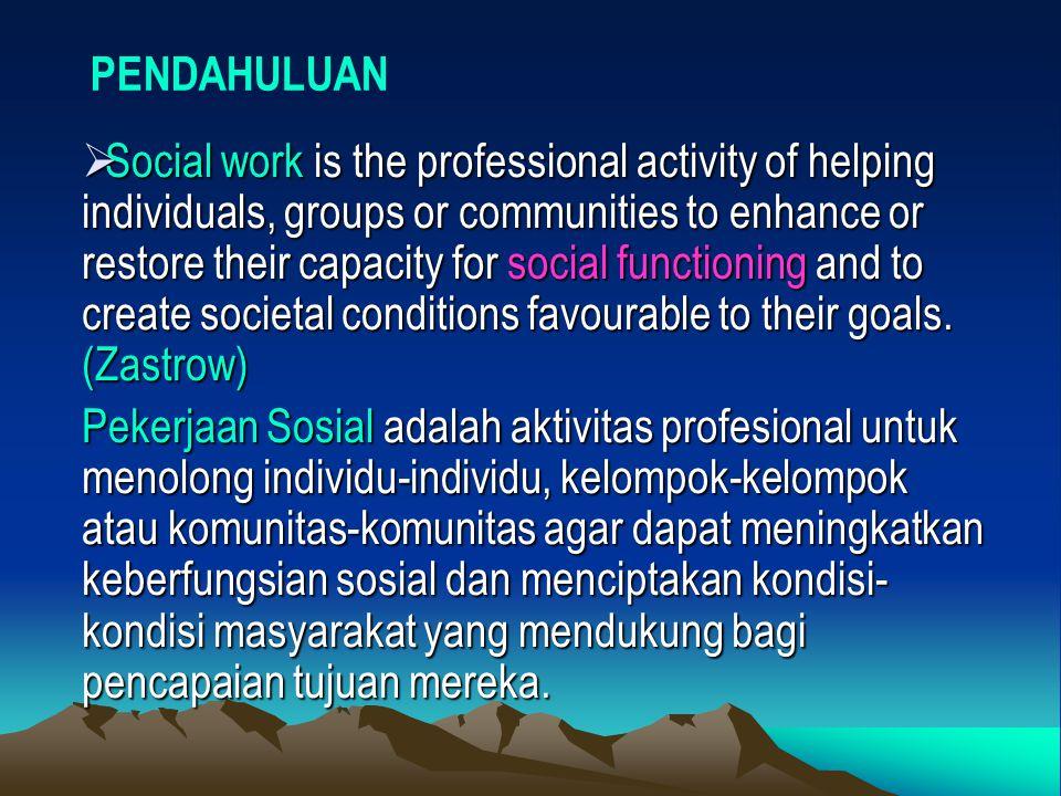 HUMAN BEHAVIOUR IN THE SOCIAL ENVIRONMENT (HB & SE) PEKERJAAN SOSIAL KEBERFUNGSIAN SOSIAL INDIVIDUSITUASI SOSIAL TINGKAH LAKU MANUSIA LINGKUNGAN SOSIAL 1.TEORI YANG MENDASARI HBSE 2.PEMBENTUKAN SIKAP & TL 3.PEMAHAMAN DIRI 4.TAHAP-TAHAP PERKEMBANGAN MANUSIA 5.KEPRIBADIAN 6.SOSIALISASI 1.CULTURE & SOCIETY 2.COMMUNITY 3.