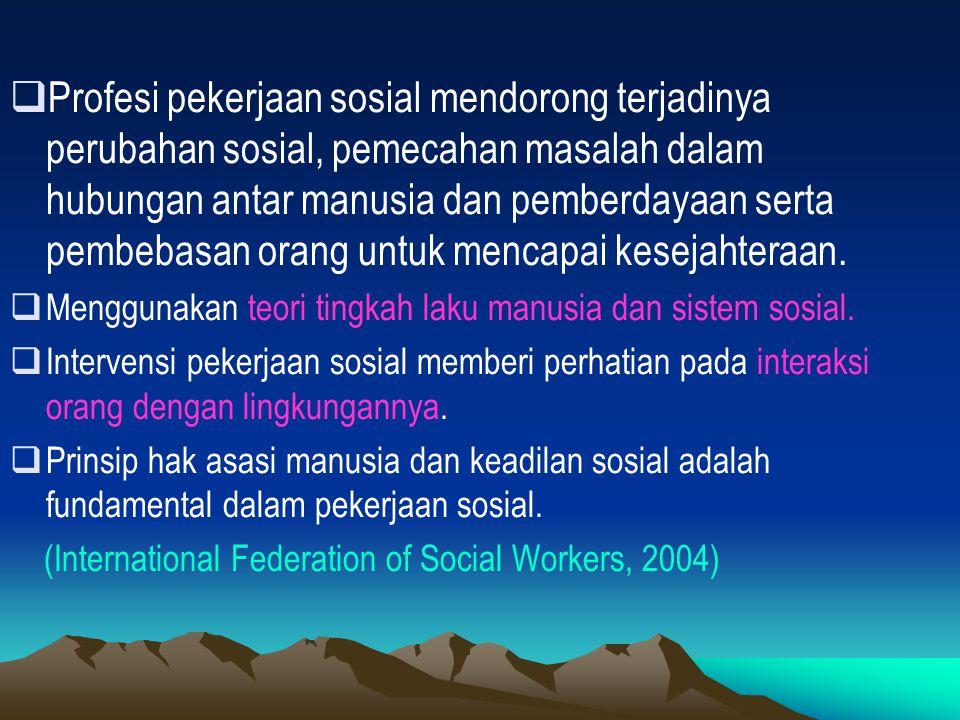 PURPOSE OF SOCIAL WORK (Baer & Federico, 1978 : 68)  Pekerja sosial harus dapat menolong orang untuk memecahkan permasalahan-permasalahannya serta mengatasi situasi-situasinya.