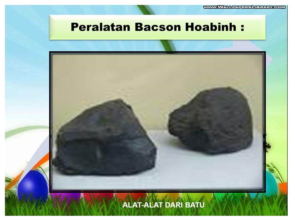 Istilah : BacsonHoabinh digunakan mulai tahun 1920 Istilah : BacsonHoabinh digunakan mulai tahun 1920 Kebudayaan BacsonHoabinh kebudayaan Batu Kebuday