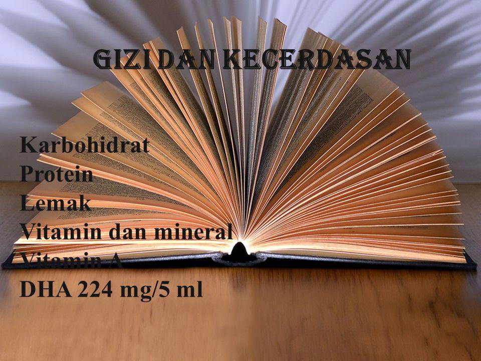 Karbohidrat Protein Lemak Vitamin dan mineral Vitamin A DHA 224 mg/5 ml GIZI DAN KECERDASAN
