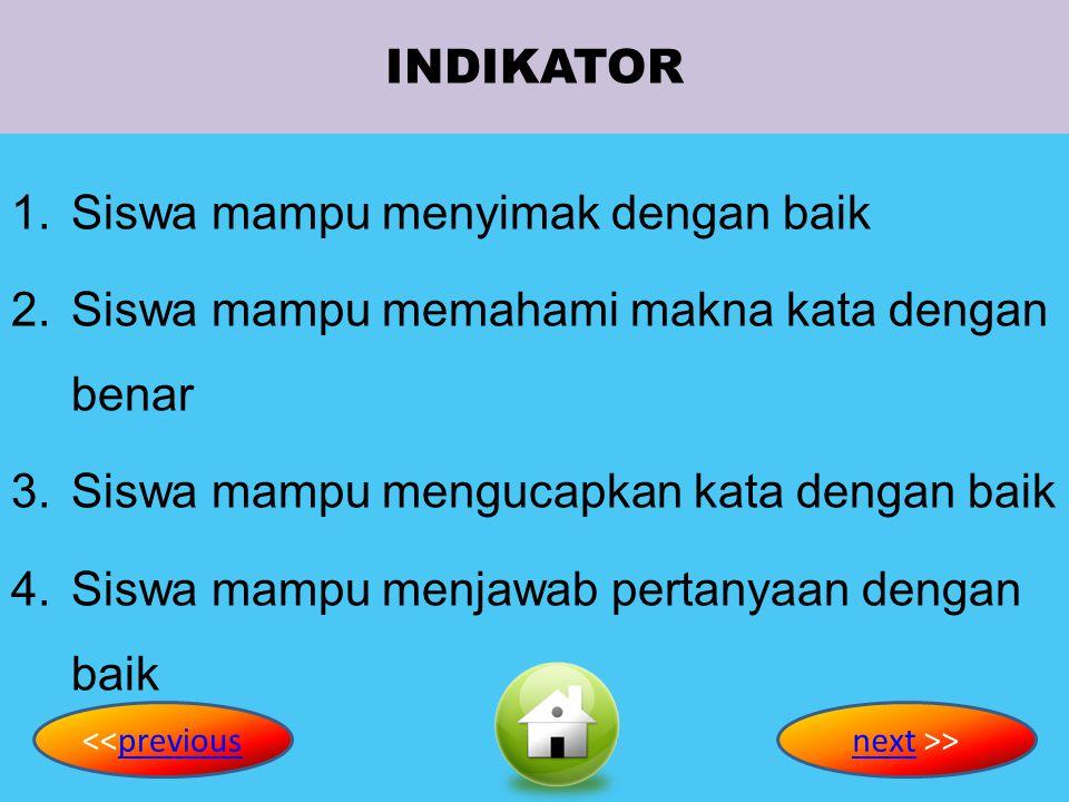 KOMPETENSI DASAR 1.Merespons instruksi sangat sederhana dengan tindakan secara berterima dalam konteks sekolah 2.Bercakap-cakap untuk menyertai tindak