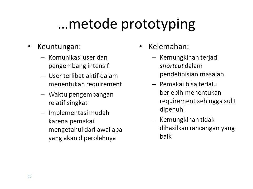 11 5. Metode Prototyping  Pendekatan iteratif dalam pengembangan sistem  Dibuat prototype operasional sistem, gunakan data aktual, edit input, lakuk