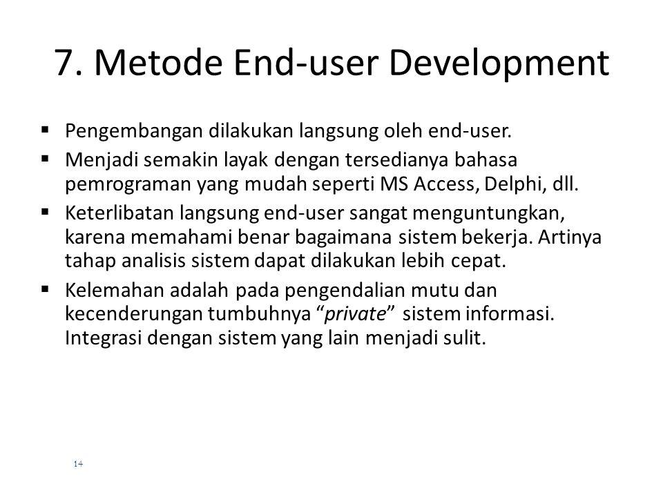 13 6. Metode Application Software  Alternatif lain adalah dengan membeli software aplikasi yaitu paket software yang sudah jadi  Misalkan membeli SA