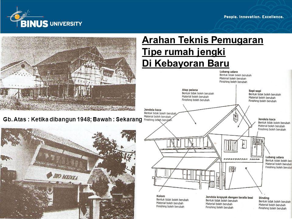 Arahan Teknis Pemugaran Tipe rumah jengki Di Kebayoran Baru Gb. Atas : Ketika dibangun 1948; Bawah : Sekarang