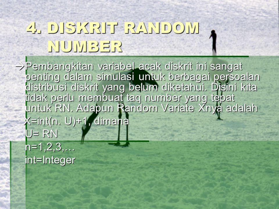 4. DISKRIT RANDOM NUMBER  Pembangkitan variabel acak diskrit ini sangat penting dalam simulasi untuk berbagai persoalan distribusi diskrit yang belum