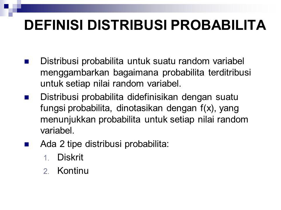DISTRIBUSI PROBABILITA DISKRIT Distribusi probabilita diskrit, yaitu apabila random variabel yang digunakan diskrit.