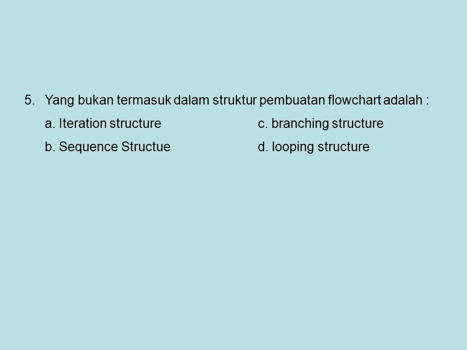 5.Yang bukan termasuk dalam struktur pembuatan flowchart adalah : a. Iteration structurec. branching structure b. Sequence Structue d. looping structu