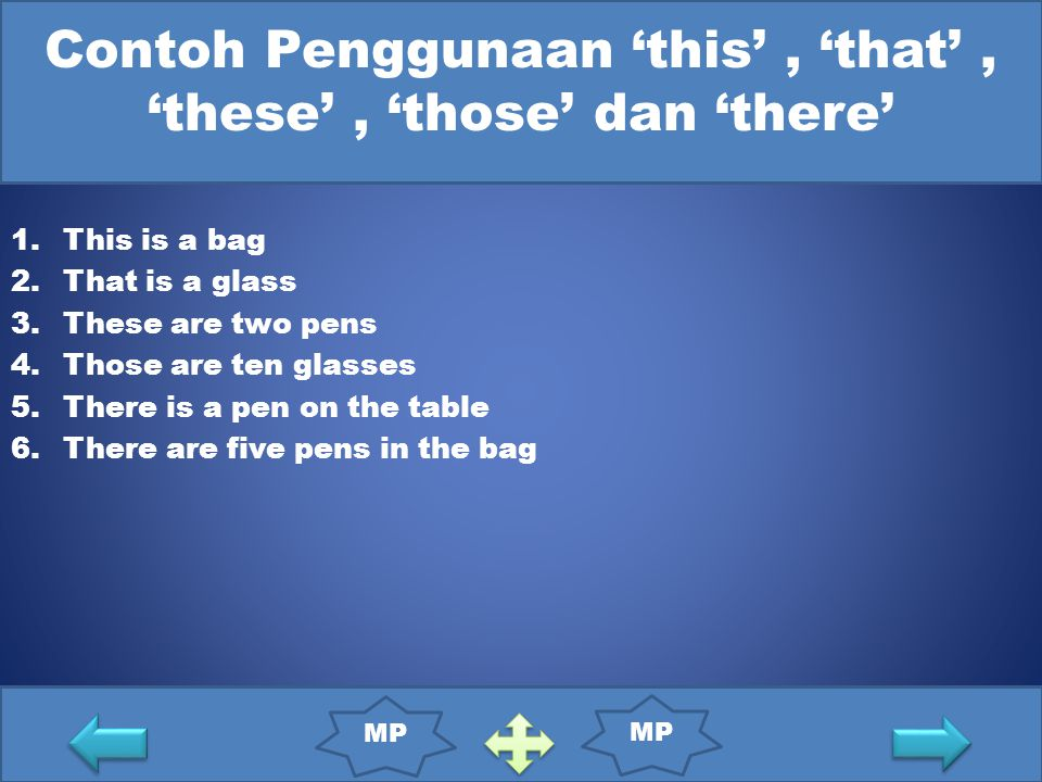 Contoh Penggunaan 'this', 'that', 'these', 'those' dan 'there' 1.This is a bag 2.That is a glass 3.These are two pens 4.Those are ten glasses 5.There is a pen on the table 6.There are five pens in the bag MP