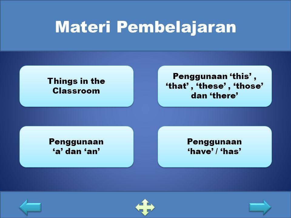 Materi Pembelajaran Things in the Classroom Things in the Classroom Penggunaan 'a' dan 'an' Penggunaan 'a' dan 'an' Penggunaan 'this', 'that', 'these'