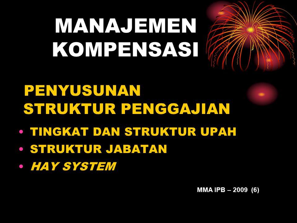 MANAJEMEN KOMPENSASI PENYUSUNAN STRUKTUR PENGGAJIAN TINGKAT DAN STRUKTUR UPAH STRUKTUR JABATAN HAY SYSTEM MMA IPB – 2009 (6)