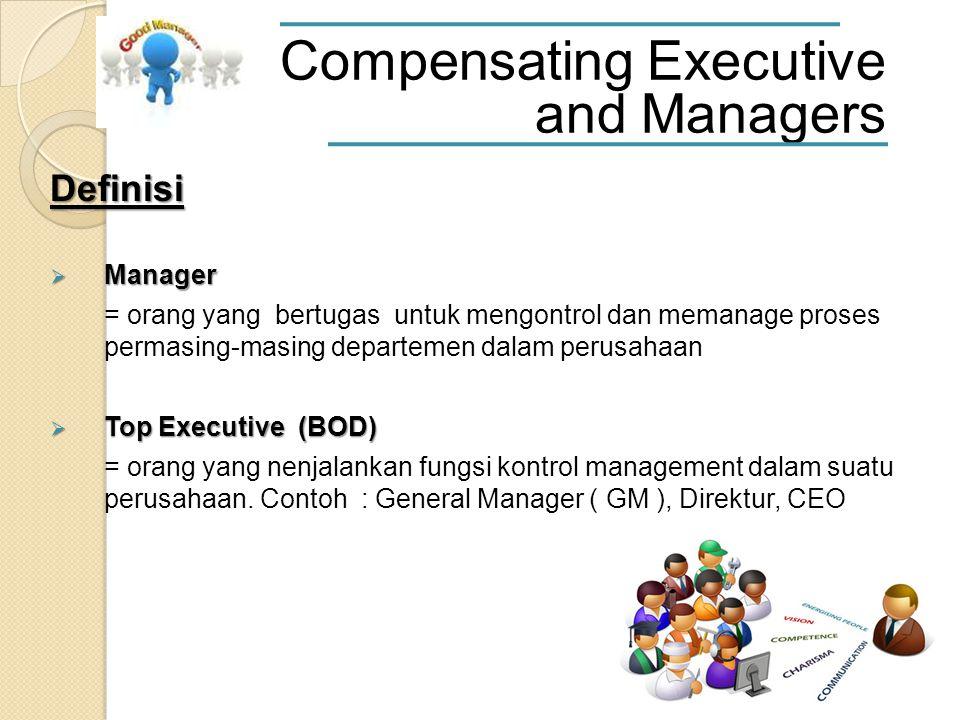 Definisi  Manager = orang yang bertugas untuk mengontrol dan memanage proses permasing-masing departemen dalam perusahaan  Top Executive (BOD) = orang yang nenjalankan fungsi kontrol management dalam suatu perusahaan.
