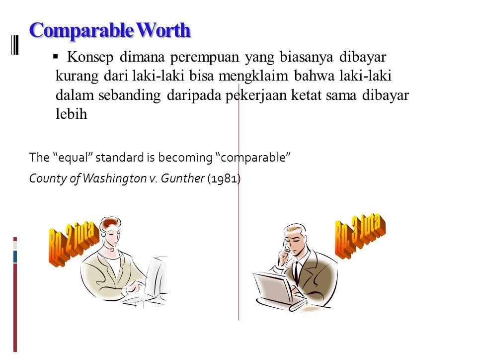 Comparable Worth  Konsep dimana perempuan yang biasanya dibayar kurang dari laki-laki bisa mengklaim bahwa laki-laki dalam sebanding daripada pekerjaan ketat sama dibayar lebih The equal standard is becoming comparable County of Washington v.