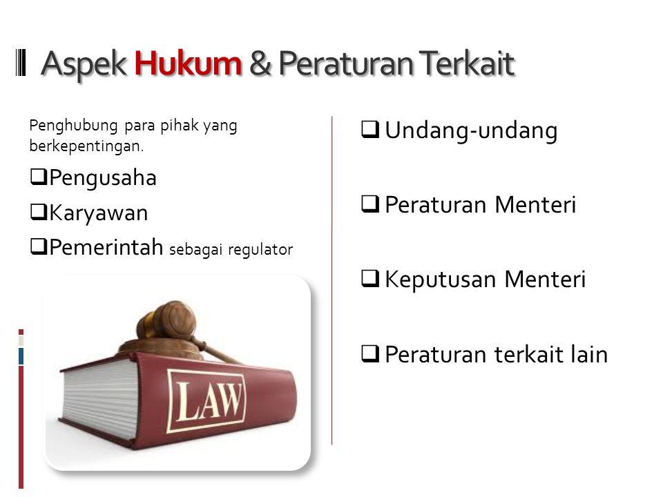 Aspek Hukum & Peraturan Terkait Penghubung para pihak yang berkepentingan.
