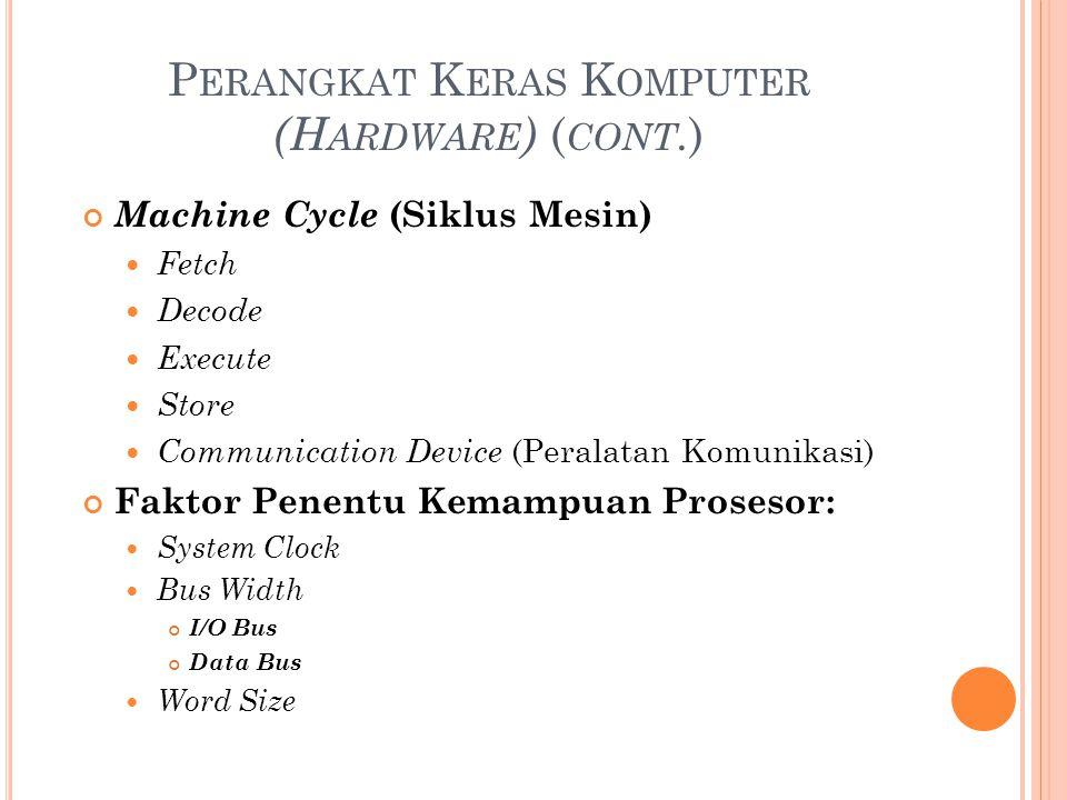 P ERANGKAT K ERAS K OMPUTER (H ARDWARE ) ( CONT. ) Machine Cycle (Siklus Mesin) Fetch Decode Execute Store Communication Device (Peralatan Komunikasi)