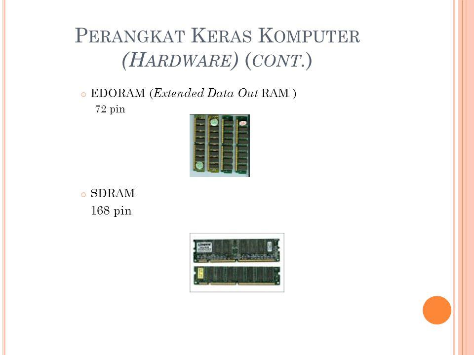 P ERANGKAT K ERAS K OMPUTER (H ARDWARE ) ( CONT. ) EDORAM ( Extended Data Out RAM ) 72 pin SDRAM 168 pin