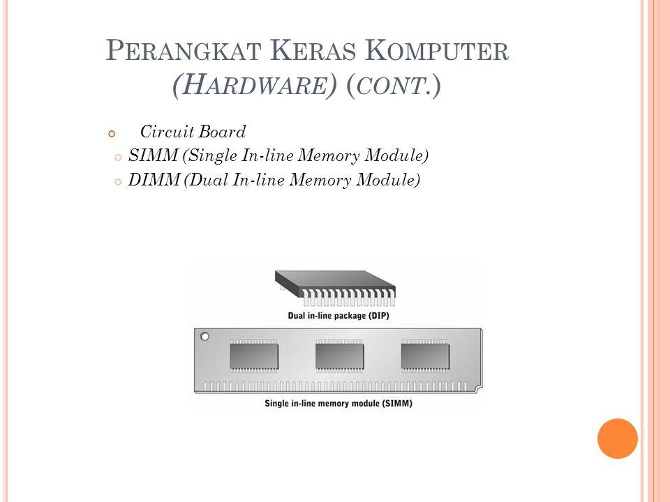 P ERANGKAT K ERAS K OMPUTER (H ARDWARE ) ( CONT. ) Circuit Board SIMM (Single In-line Memory Module) DIMM (Dual In-line Memory Module)