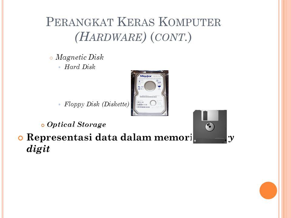 P ERANGKAT K ERAS K OMPUTER (H ARDWARE ) ( CONT. ) Magnetic Disk Hard Disk Floppy Disk (Diskette) Optical Storage Representasi data dalam memori : bin